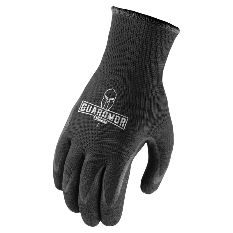 Lift Safety G18PTN-KM POLY TEXTURED NITRILE Palm Glove 13 Gauge (Microfoam Nitrile) - Black(Cases of 6 Packs)