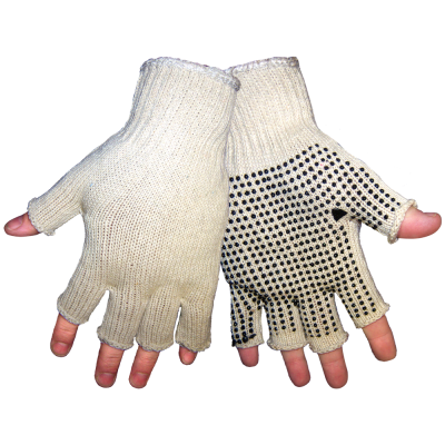 Men's Economy Fingerless PVC Dotted String Knit Gloves (Case of 300)