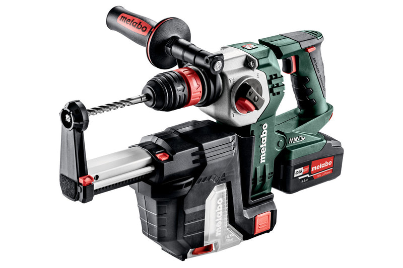 "Metabo 600211950 18V 1"" SDS-Plus Brushless Rotary Hammer w/ Hepa Vaccum Attachment 2X 5.2AH"