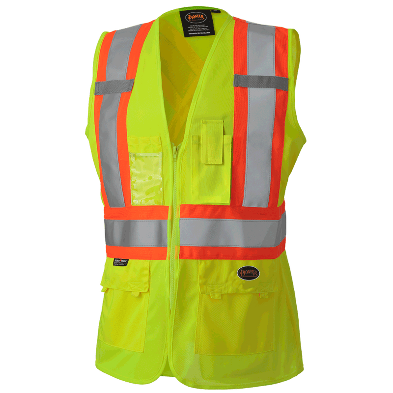 Green High Visibility Tricot Polyester Safety Vest for Women (Case Of 25 Pcs)