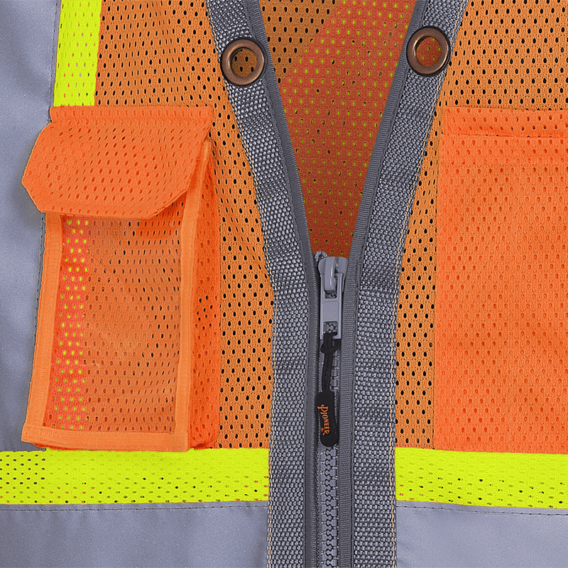 Surveyor Hi-Viz Reflective Safety Vest for Men Neon Orange(Case Of 20 Pcs)