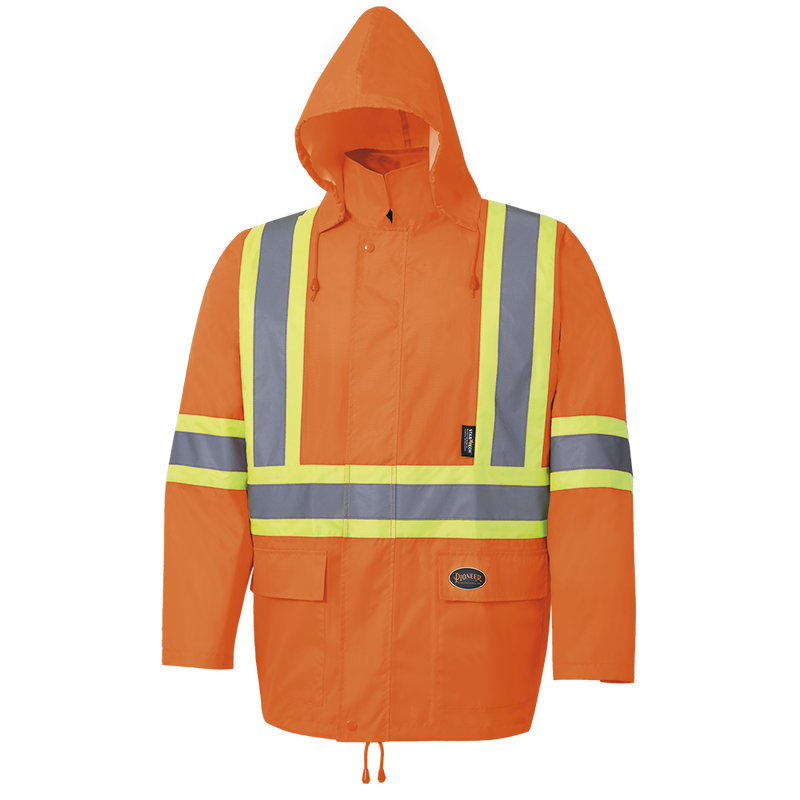 High Visibility Oxford Rain Suit Waterproof Jacket and Bib Pants for Men Orange (Case Of 24 Pcs)