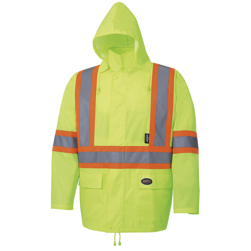Pioneer V1080360U High Visibility Oxford Rain Suit Waterproof Jacket and Bib Pants for Men - (Case Of 24 Pcs)