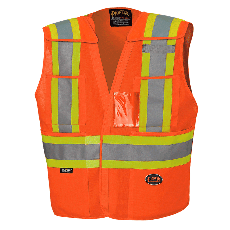 High Visibility Tricot Polyester Safety Vest Orange for Men - (Case Of 25 Pcs)