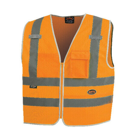 Pioneer High Visibility Tricot Zipper Mesh Safety Vest with 8 Pockets Orange(Case Of 25 Pcs)