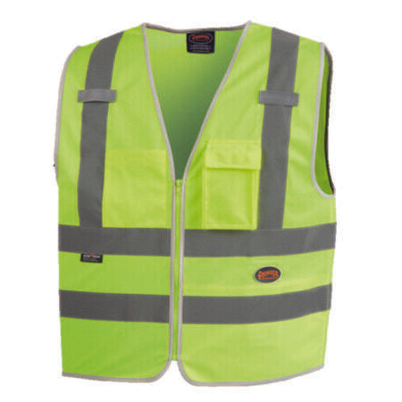 Pioneer V1025160U-S High Visibility Tricot Zipper Mesh Safety Vest with 8 Pockets Neon Green(Case Of 25 Pcs)