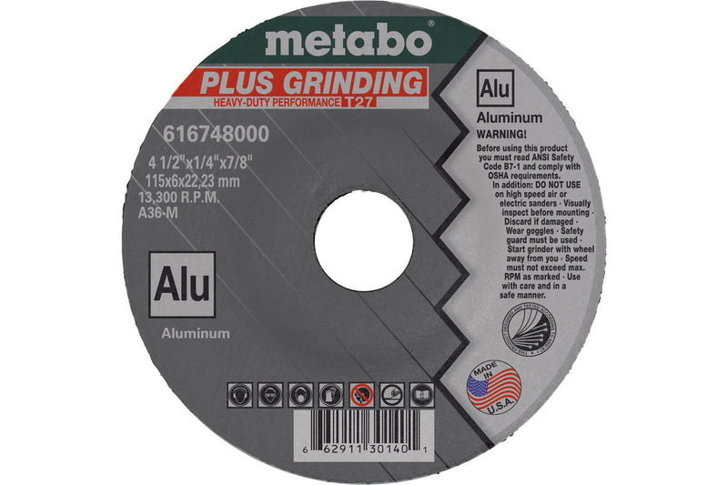 "4 1/2"" X 1/4"" X 7/8"" - A36M PLUS GRIND ALU, 10 PCS/PACK(Pack of 25)"