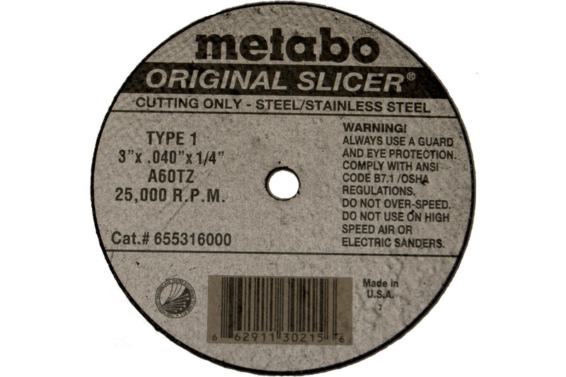 "Metabo 655317000 3"" X .040"" X 3/8"" - A60TZ Original Slicer, 30 Pcs/Pack (Pack of 100)"