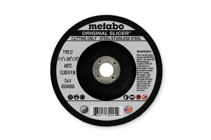 "Metabo 655302000 9"" X 1/8"" X 5/8""-11 - A30R Original Cutting, 6 Pcs/Pack (Pack of 10)"