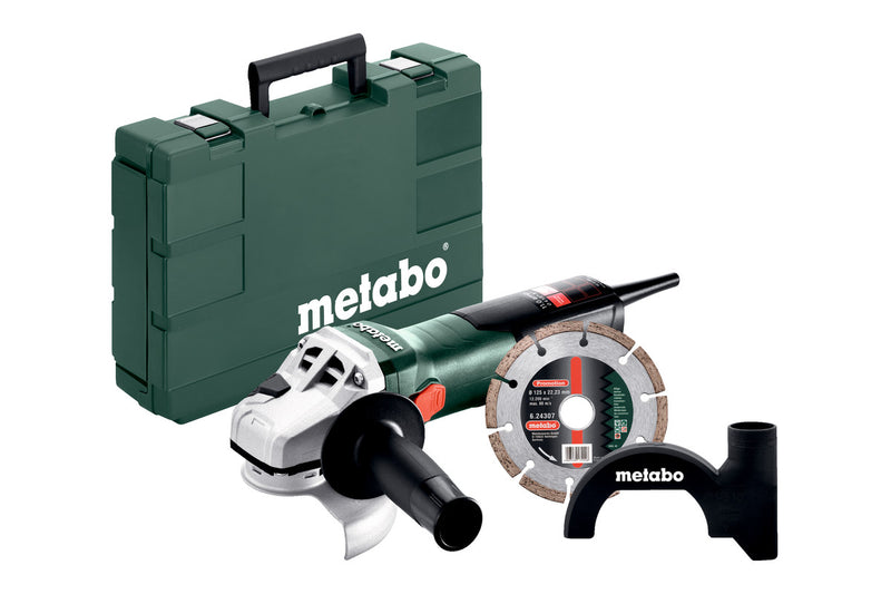 "Metabo 603622850 W 11-125 Concrete 5"" Angle Grinder 11,000 RPM - 11.0 Amps w/ Lock-On, 5"" HP Diamond Wheel, Dust Shroud"