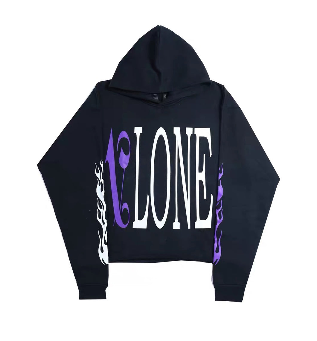 Vlone X Palm Angels Hoodie Black/Purple