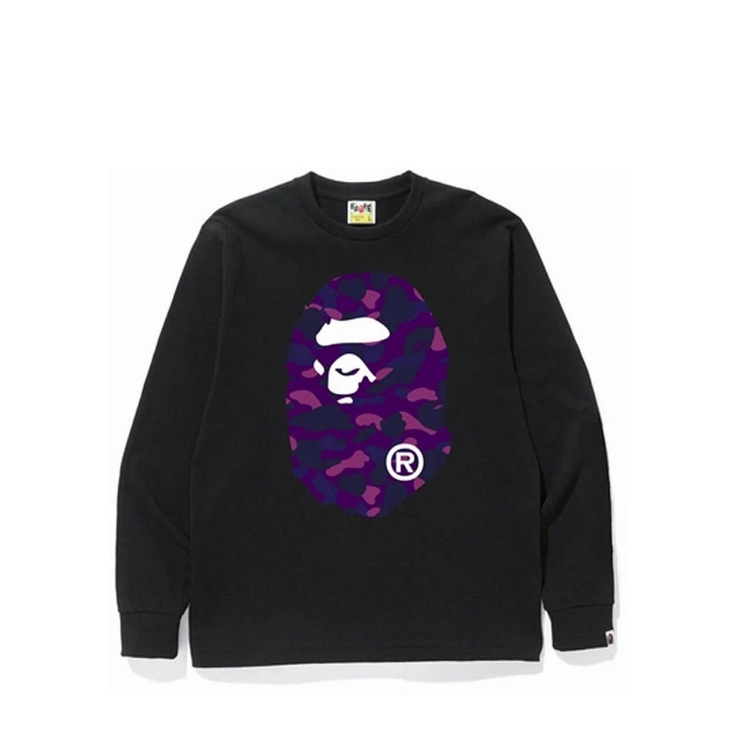 Bape purple camo big head long sleeve black