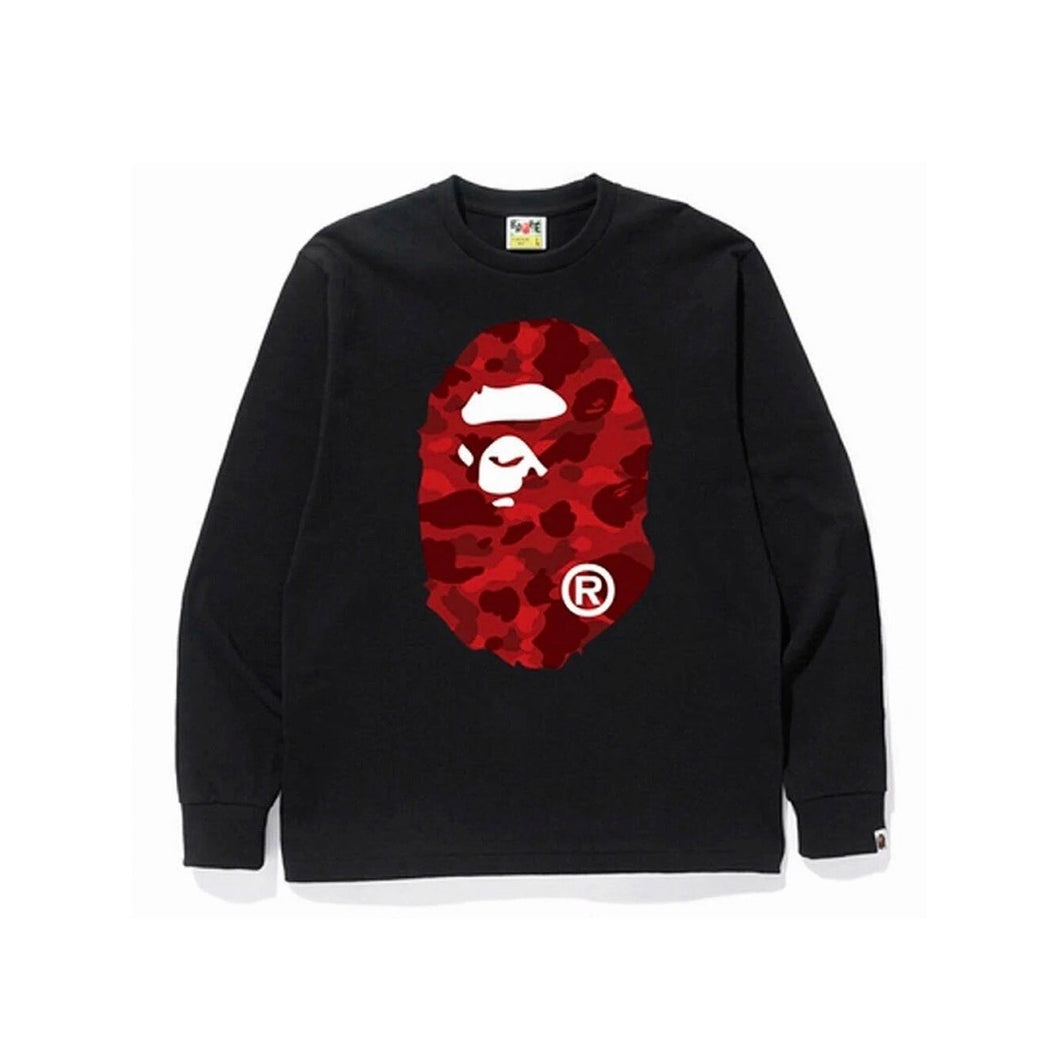 Bape red camo big head long sleeve black