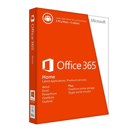 Microsoft Office 365 Home 5 PCs or Macs, 5 tablets plus 5 phones 1 Year License