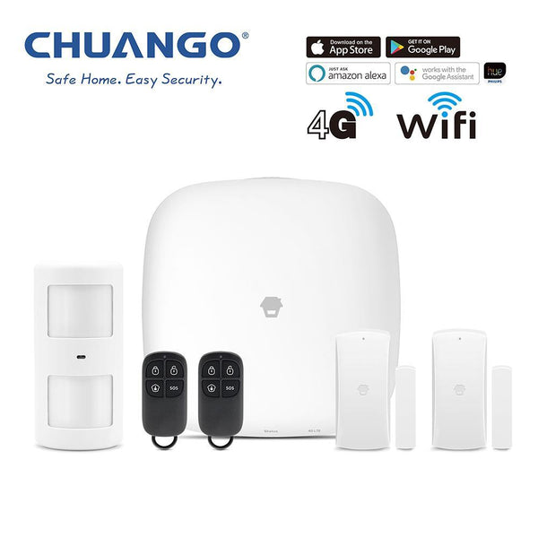 Chuango H4-LTE Self Monitored Pet friendly Smart Security Alarm Small DIY Kit