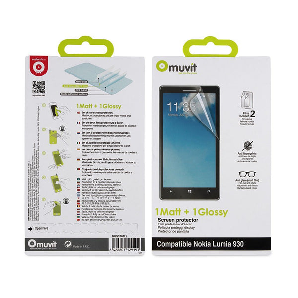 Muvit 1 Matt + 1 Glossy Screen Protector for Nokia Lumia 930