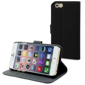 Muvit Black Wallet Folio Stand Case 3 Card Slots Apple Iphone 6 /6s Plus
