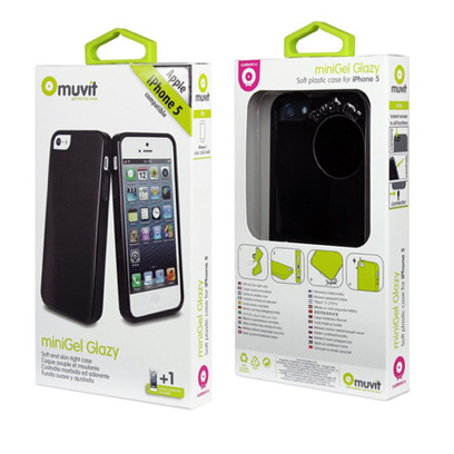 Muvit black miniGel case for iPhone 5/5s with Screen Protector