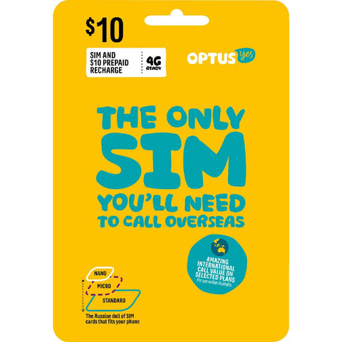 Australia mobile Optus prepaid SIM starter kit 5GB +10GB 100min Talk Unlimited SMS