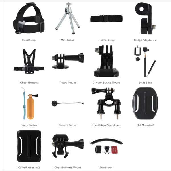 3SIXT GoPro & other Action Camera Accessory 30 pcs Pack include hard carry case,
