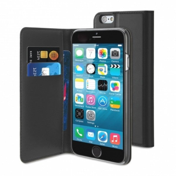 first rate ba134 a27c2 Muvit Black Wallet Folio Stand Case 3 Card Slots Apple Iphone 6/6S