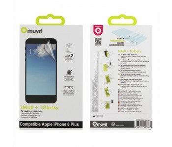 Muvit 1 matt + 1 Glossy Screen Protector for iPhone 6 Plus