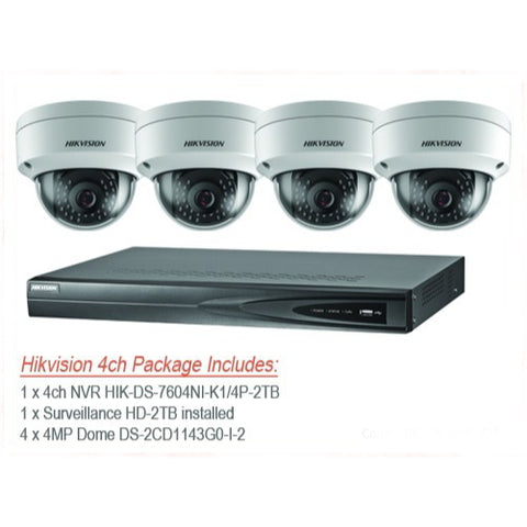 Hikvision 4MP IP 4 channel NVR & 4 x IP67 Outdoor Dome Camera CCTV Bundle Kit with 2TB HDD