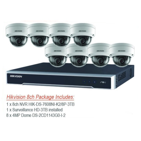 Hikvision 4MP IP 8 channel NVR & 8 x IP67 Outdoor IP Dome Cameras CCTV Bundle Kit with 3TB Surveillance HDD