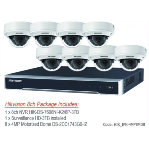 Hikvision 4MP IP 8 channel NVR & 8 x IP67 Outdoor IP Motorised vari-focal lens Dome Cameras CCTV Bundle Kit with 3TB Surveillance HDD