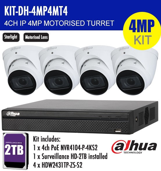 DAHUA 4MP 4CH IP MOTORISED TURRET BUNDLE KIT /w 2TB HDD Storage