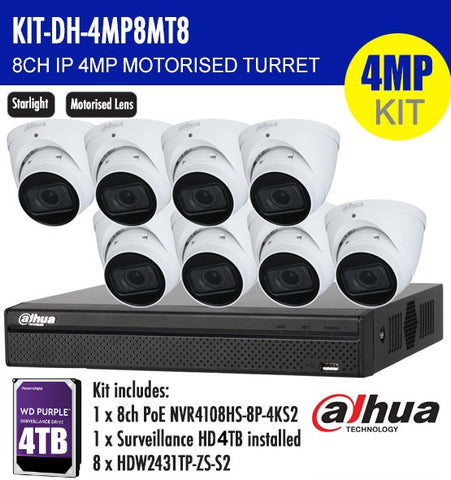 DAHUA 4MP 8CH IP MOTORISED TURRET BUNDLE KIT /w 4TB HDD Storage