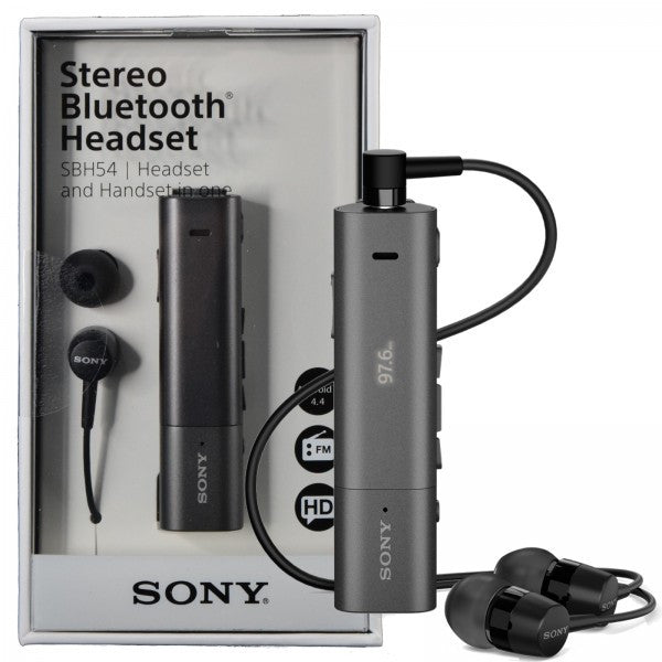 SONY SBH54 HD stereo bluetooth headset and handset in one with FM radio and LED
