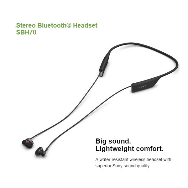 Sony SBH70 Sports Stereo Water resistant Wireless Bluetooth Music Headset Black