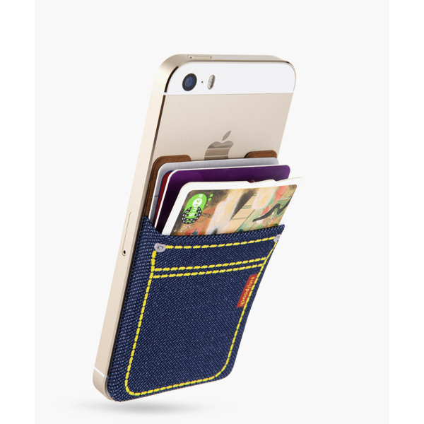 SinjiPouch Denim Stickable Pouch for Smart Phone