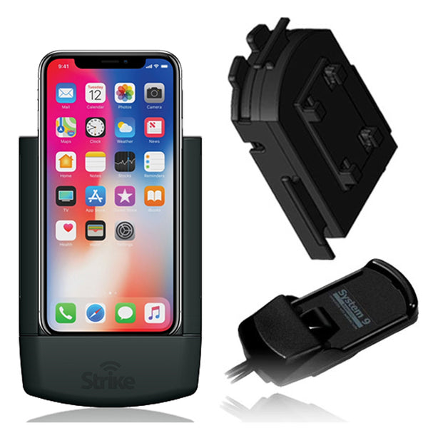 Strike in-car Phone Cradle for iPhone X/Xs - optional Bury S9 Baseplate
