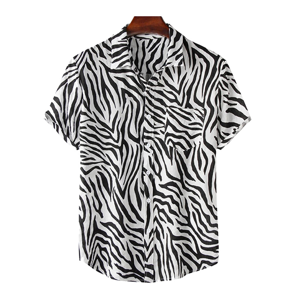 Mens Gradient Zebra Print Casual Holiday Lapel Short Sleeve Shirt
