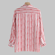 Load image into Gallery viewer, Lapel Vertical Striped Long Sleeves Blouses&shirts