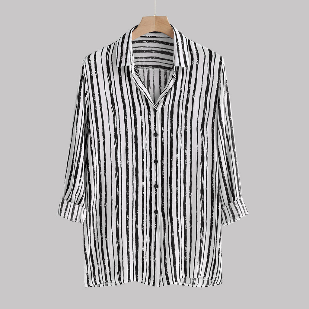 Lapel Vertical Striped Long Sleeves Blouses&shirts