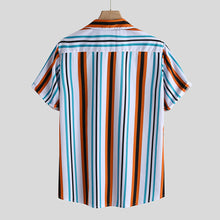 Load image into Gallery viewer, Mens Colorful Vertical Stripe Printed Holiday Casual Short Sleeve Shirt