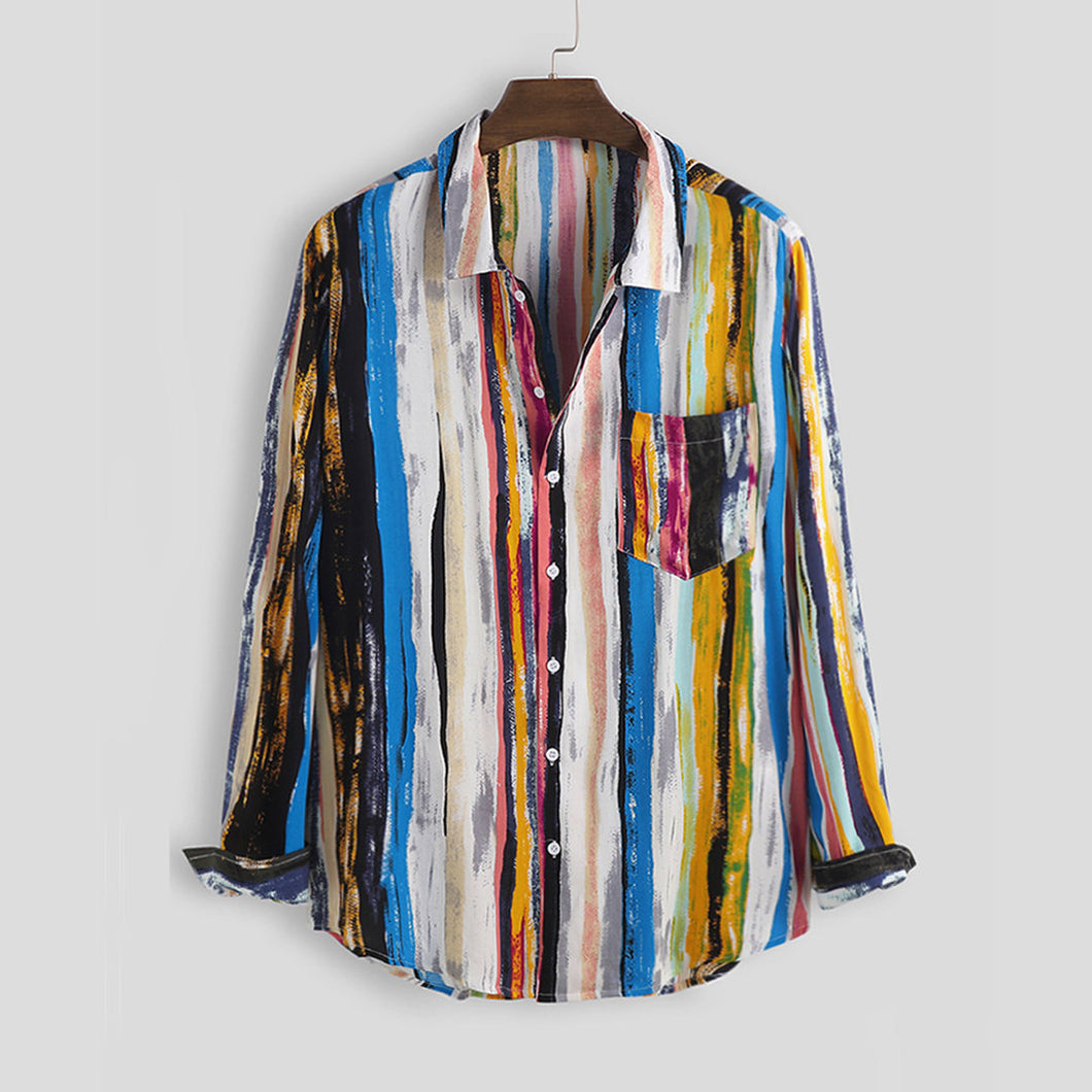 Mens Multi Color Graffiti Chest Pocket Round Hem Long Sleeve Shirts