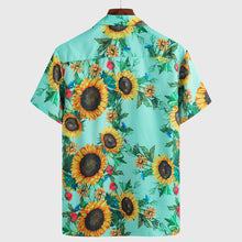 Load image into Gallery viewer, Mens Sunflower Print Light Casual Collar Short Sleeve Shirts