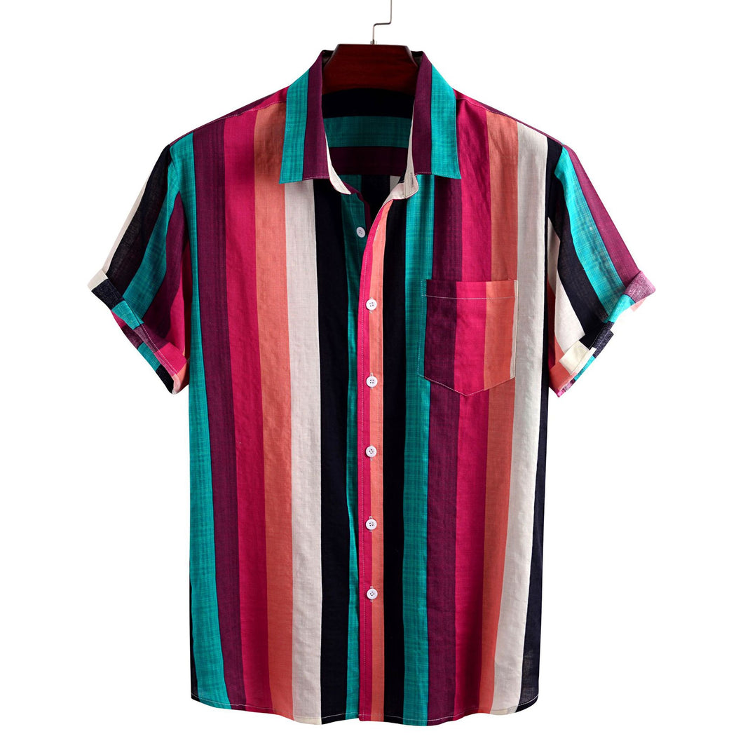 Mens Colorful Stripes Print Loose Casual Designer Short Sleeve Shirts