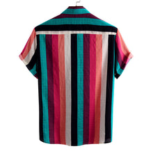 Load image into Gallery viewer, Mens Colorful Stripes Print Loose Casual Designer Short Sleeve Shirts