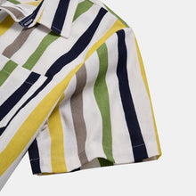 Load image into Gallery viewer, Men Linen Lightweight Breathable Color Striped Short Sleeve Shirt