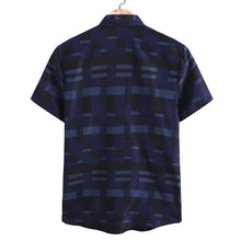 Load image into Gallery viewer, Mens Stripe Printing Short Sleeve Loose Casual Shirt