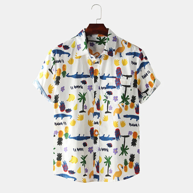 Mens Lovely Funny Tropical Cartoon Short Sleeve Shirts