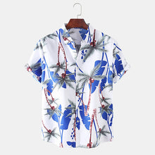Load image into Gallery viewer, Mens Holiday Coconut Tree Printed Plain Beach Short Sleeve Shirt