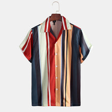 Load image into Gallery viewer, Men Striped Printed Holiday Loose Short Sleeve Shirt