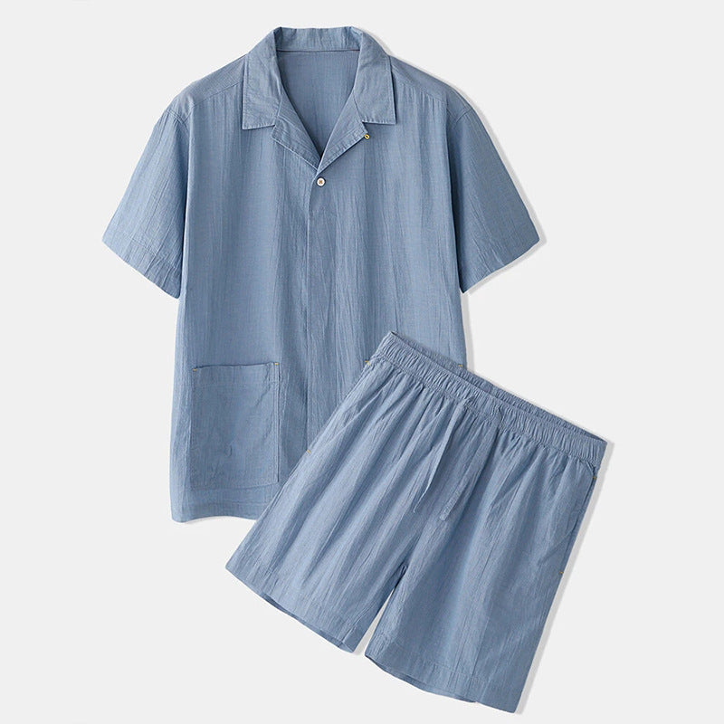 Solid Color Pocket Lapel Casual Loose Short Sleeve Shirt Suit