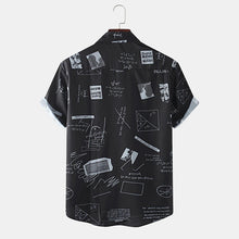 Load image into Gallery viewer, Mens Funny Abstract Cartoon Slogan Chest Pocket Short Sleeve Shirts